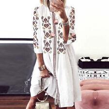 ZANZEA Bohemian Women Summer Holiday Party Long Shirt Dress Floral Sundress Plus