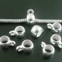 100 Bail European Spacer Bead Fit Charm Bracelet Silver Plated Acrylic Jewelry