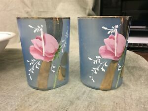 "Pair of Antique Victorian Hand Painted 3-3/4"" Water Glasses Pink Roses"