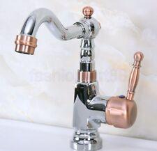 Red Chrome Brass Swivel Kitchen Sink Bathroom Basin Mixer Tap Faucet fnf915
