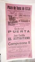 1975 Cartel Plaza de Toros de Ecija Gabriel Puerta José Castilla El Astigitano