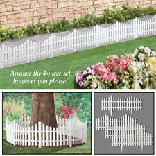 Set of 4 Easy-To-Install Flexible White Picket Fence Garden Edging Border