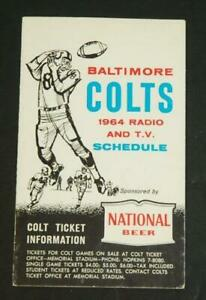 1964 Baltimore Colts Football Radio TV Pocket Schedule National Beer