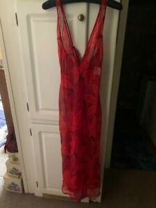 Fredericks of Hollywood Red & Black Floral Sheer Long Gown / Size Med / NWT