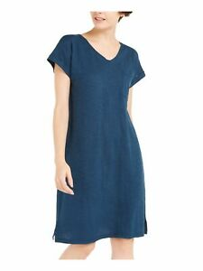 EILEEN FISHER Womens Blue Cap Sleeve Knee Length Fit + Flare Dress Size: S