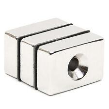 3 Stk Starke Neodym Magnete N42 30x20x10mm Loch 5mm Quader Magnet Für Pinnwand