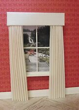 MINIATURE DOLL HOUSE  MINIATURE CURTAINS DRAPES IVORY WHITE STRIPE 4 3/4 INCHES