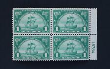 Huguenot-Walloon Tercentenary 1c Nieu Nederland Block of 4 US Scott #614 Mint HR