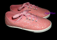 NEW Youth Girls Wonder Nation Pink Glitter Sparkle Canvas Sneakers Shoes Size 5