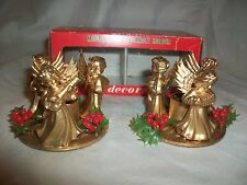 Vintage Pair Plastic Musical Angel Taper Candle Holders Christmas Holly