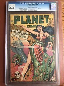 Planet Comics 51 CGC 5.5 CR/OW Fiction House Doolin GGA Skull Cover SWEET
