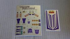 A Transformers premium quality replacement sticker/decal sheet for G1 Skywarp