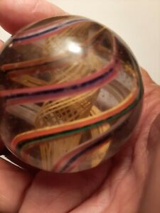 "Big 2"" Antique Handmade Glass Marble/Rare Yellow Latticino - NM+"