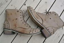I Luv Billy Brown Taupe LEATHER-LOOK Studded Ankle Boots Womens' Size 7/8-39/EUR