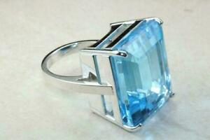 Mens 10Ct Swiss Blue Topaz Wedding Ring 14K White Gold Plated 925 Sterling Silve