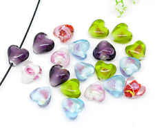 50 Mixed Lampwork HOTSELL Glass Color-Lined Foil Heart Beads