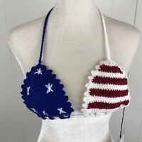 Womens Knit Bra Top American Flag Rehab Festival Spring Break Small Stars Stripe