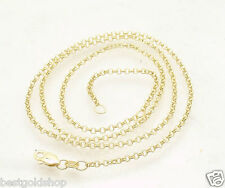 """Adjustable 2mm Rolo Cable Chain Necklace Real Solid 14K Yellow Gold 16"""" 18"""""""