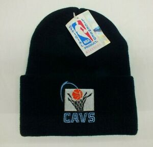 CLEVELAND CAVALIERS BLACK NBA KNIT BEANIE STOCKING SKI HAT VTG LOGO 7 NEW