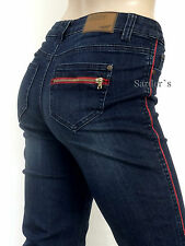 ARIZONA Jeans 36 Stretch Straight Gerade Blau Used Waschung Denim Rot Paspel NEU
