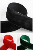 Velvet Ribbon 1m - 10m - 9mm or 18mm - 3 Colours - Red Black Bottle Green