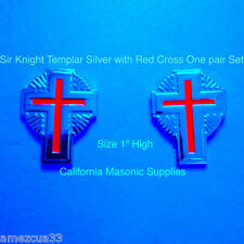 sleeves and collar Sir Knight Templar Silver Crosses With rays {one pair} York R