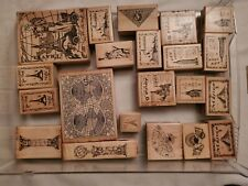 Wooden rubber stamps lot 21 odd stamps