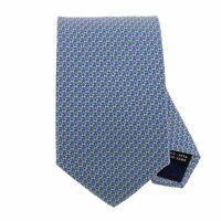 Salvatore Ferragamo Men's Blue Star Print 100% Silk Skinny Neck Tie