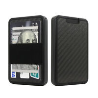 Carbon Fiber Credit Card Holder Mini Wallet Money Magic Push Open RFID Blocking