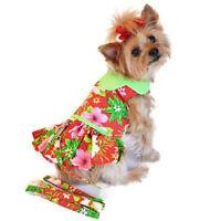 Doggie Design Hawaiian Red Hibiscus Designer Dog Dress & Leash