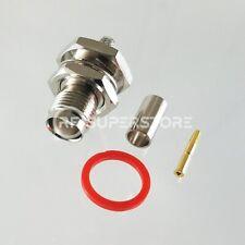 TNC Female Bulkhead Rear Mount Connector Crimp Attachment Coax RG55, RG58
