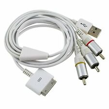 AV Composite Video to TV RCA Cable USB for Apple iPad 1 iPad 2 iPhone iPod Touch