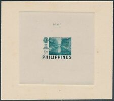 PHILS #582TC DIE TRIAL COLOR PROOF ON INDIA ON CARD BLUE GREEN W/ NO. BS3520