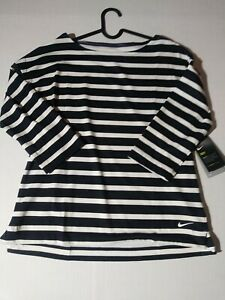 Women's Size Small Nike Golf 3/4-Sleeve Stripe Top AV3676-015 - Dark Grey