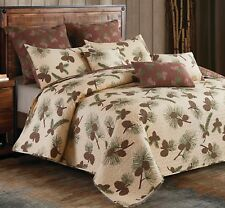 Forest Pines 3pc King Quilt Set : Lodge Pinecone Cabin Brown Trees Forest