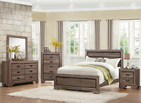 NEW Modern Light Brown 5 piece Bedroom Set Furniture w/ Queen Size Panel Bed A4S