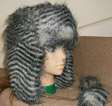 NEW RIVER ISLAND GREY FAUX FUR TRAPPER HAT  One Size