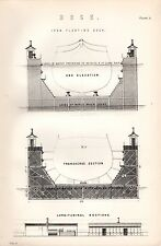 1880 PRINT ~ DOCK ~ IRON FLOATING DOCK ~ END ELEVATION TRANSVERSE SECTION