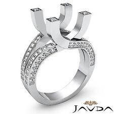Diamond Engagement Fashion Ring 14k White Gold Pave Set Round Semi Mount 1.5Ct