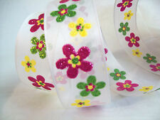 "5 Yards of 1.5"" Ribbon wired edge White with Pink Green Yellow glitter flowers"