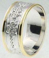 Gents 14k Gold Irish Handcrafted Celtic Cross Wedding Anniversary Ring 10mm