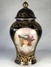 Antique French Porcelain Cobalt & Raises Gilt Hand Painted Portrait Urn 1820s
