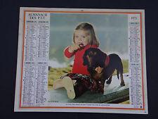 Calendrier Almanach France 1975 chien basset PTT calendar  calendario Kalender