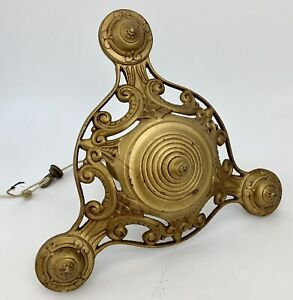 Antique/Vtg Art Deco/Victorian Cast Iron Hanging Light Fixture 3-Arm Chandelier