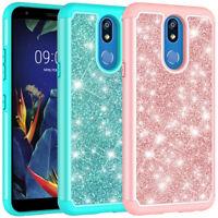 For LG Solo LTE L423DL Case Glitter Bling Hybrid Armor Shockproof Phone Cover