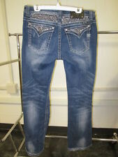 Miss Me Women's Distress Bejeweled Blue Jeans Easy Boot Size 32