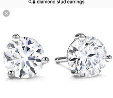 THREE-PRONG GENUINE DIAMOND STUD EARRINGS