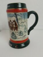 BUDWEISER CHRISTMAS BEER STEIN MUG SEASON'S BEST CLYDESDALES VINTAGE 1991