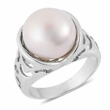 PEARL FRESHWATER GENUINE PEARL 10-11 MM SIZE 10 SILVER TONE RING GENUINE PEARL