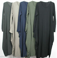 New Ladies Unusual Draped Sides Italian Lagenlook Boho Quirky Soft Cotton Dress
